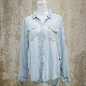 Tops - Long Sleeve Denim Button Up Shirt